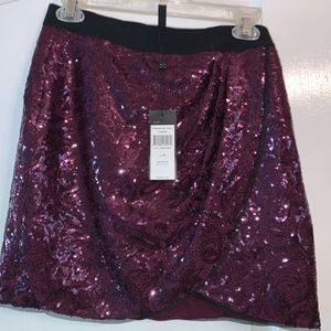 NWT BCBG Purple Sequined Mini Skirt Size M